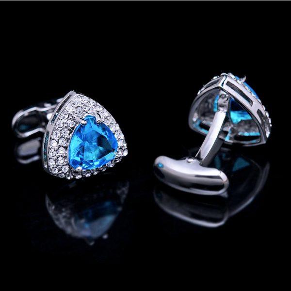 Light Blue Swarovski Crystal Cufflinks Set from Gentlemansguru.com