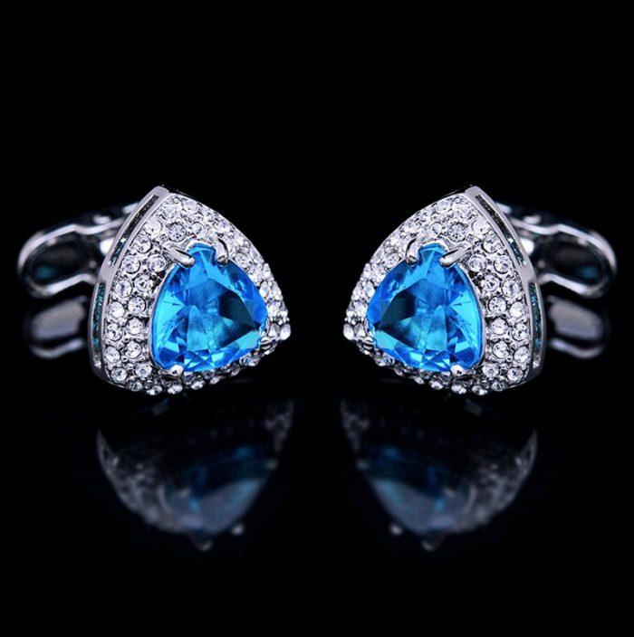 Light Blue Topaz Cufflinks Set -Uk-Online-Stone-Suit-Sapphire from Gentlemansguru.com