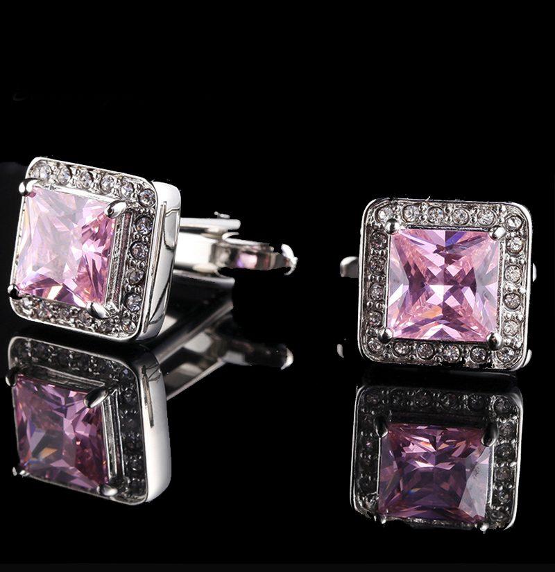 Light-Pink-Crystal-Cufflinks-With-Silver-Platingt-from-Gentlemansguru.com