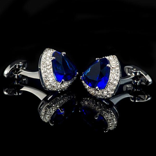 Luxury-Blue-Stone-Cufflinks-With-Silver-Plating-from-Gentlemansguru