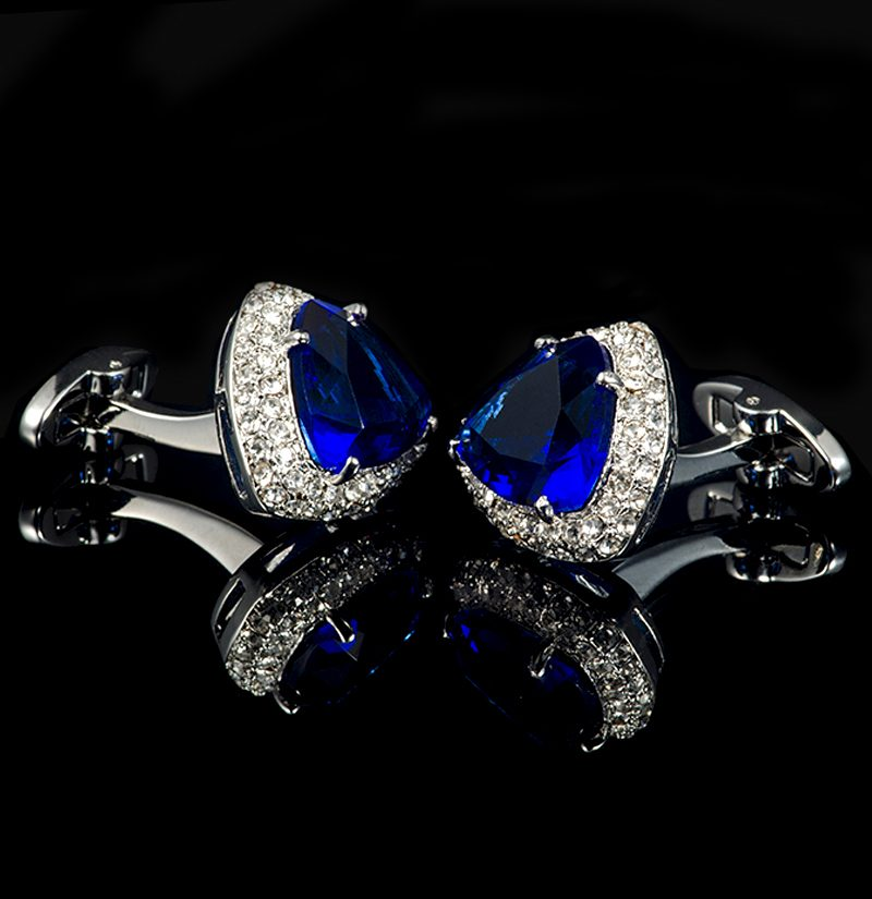 Luxury-Blue-Stone-Cufflinks-With-Silver-Plating-from-Gentlemansguru