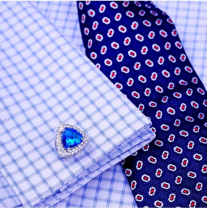 Luxury Light Blue Cufflinks For Tuxedo-Groom-Wedding-Prom Blue Diamond Cufflinks from Gentlemansguru.com