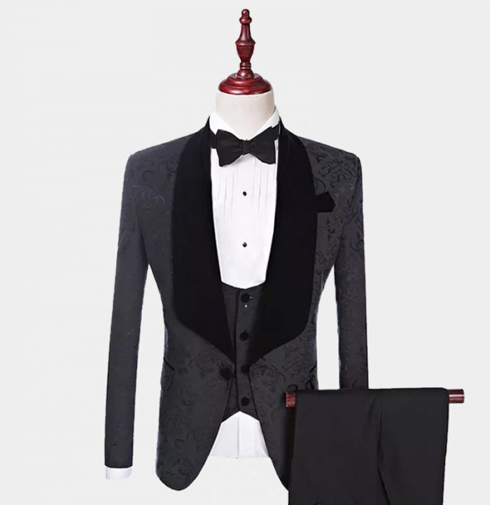 Mens Black Floral Tuxedo Suit For Prom-Wedding from Gentlemansguru.com