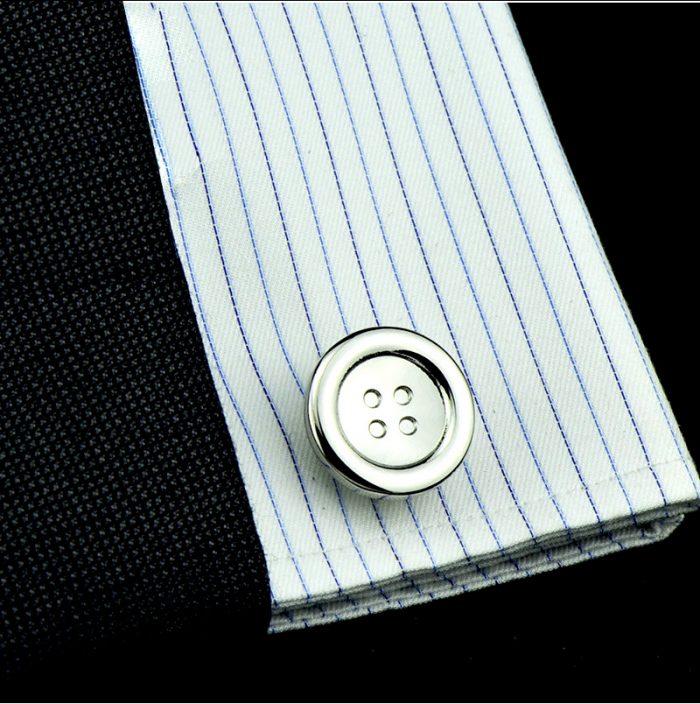 Mens Button Style Shaped Cover Cufflinhks Set Silver Button Cufflinks from Gentlemansguru.com