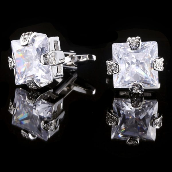 Mens Cubic Zirconia Cufflinks Wedidng Cufflinks from Gentlemansguru.com