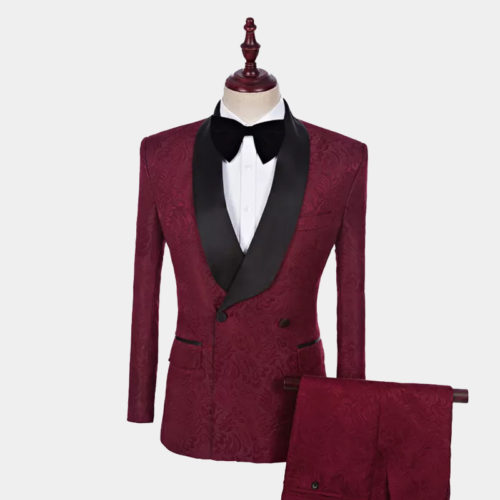 Men's Double-Breasted Burgundy Tuxedo from Gentlemansguru.com