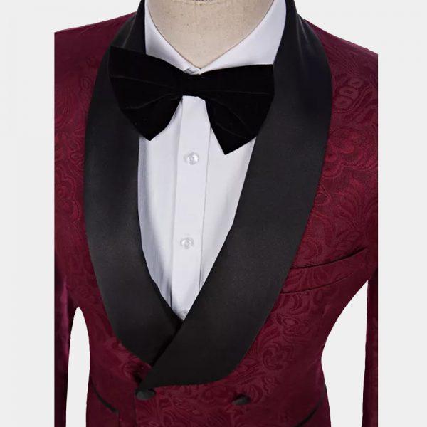 Men's Floral Double-Breasted Burgundy Tuxedo from Gentlemansguru.com