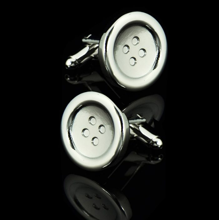 Mens Silver Button Cufflinks from Gentlemansguru.com
