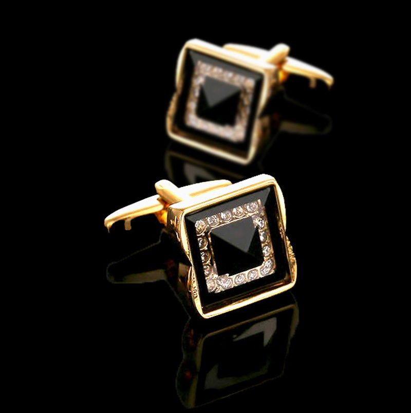 Mens Swank Black And Gold Cufflinks Set from Gentlemansguru.com