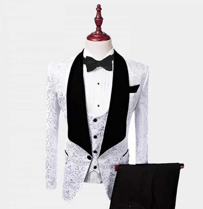 Mens-White Wedding Tuxedo Suit Prom from-Gentlemansguru.com