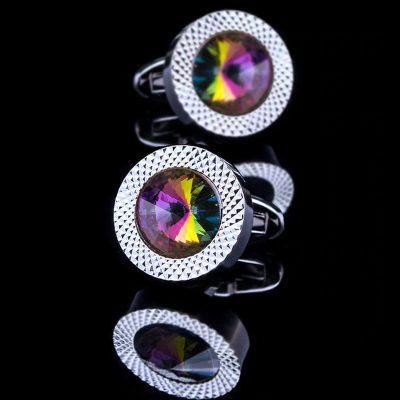 Multi Coloured Swarovski Crystal Cufflinks from Gentlemansguru.com