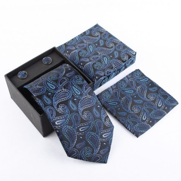 Navy Blue Paisley Necktie Set