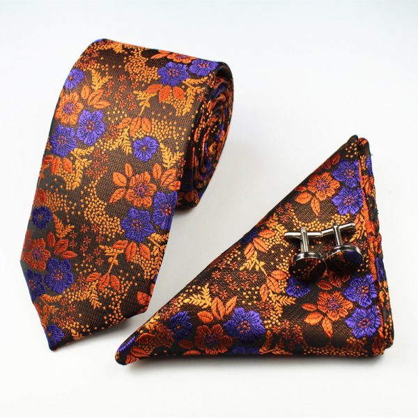 Orange Formal Floral Tie Set
