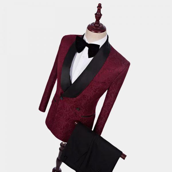 Paisley Burgundy Double-Breasted Tuxedo from Gentlemansguru.com