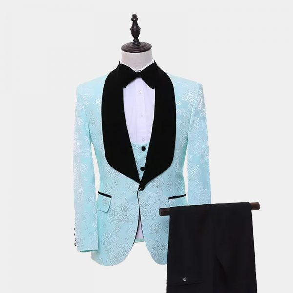 Turquoise And Black Tuxedo Suit from Gentlemansguru.com