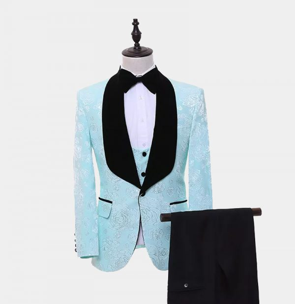 Turquoise And Black Tuxedo Suit from Gentlemansguru.com