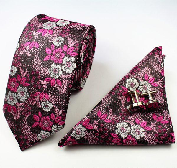 Pink Formal Floral Tie Set