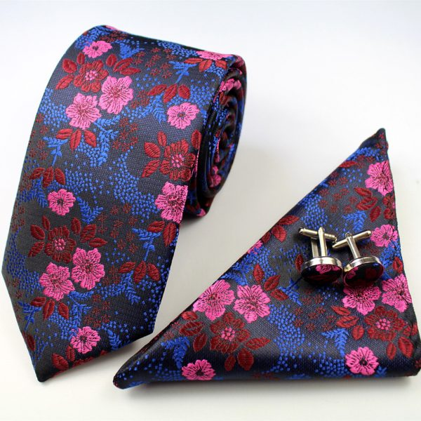 Pink and blue Formal Floral Tie Set