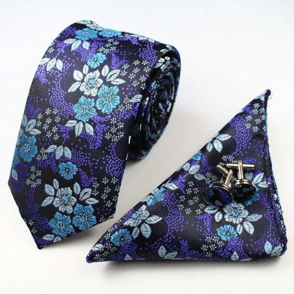Purple and blue Formal Floral Tie Set
