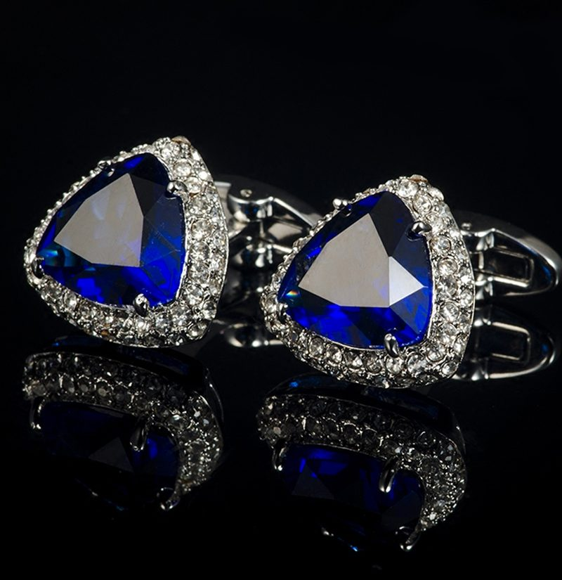 Sapphgire-Blue-Cufflinks-With-Zircon-Stone-from-Gentlemansguru