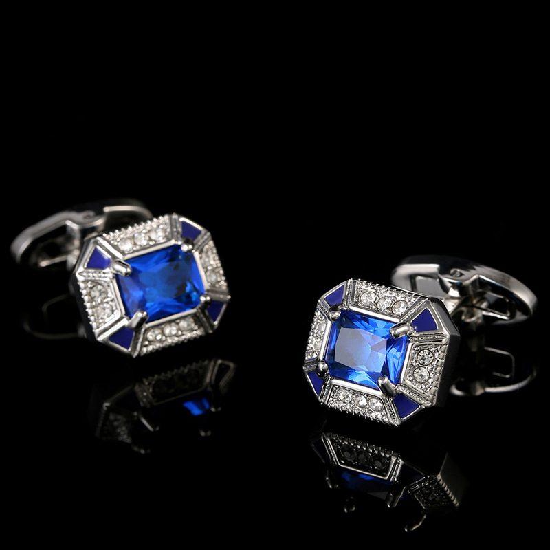 Sapphire Blue Crystal Cufflinks