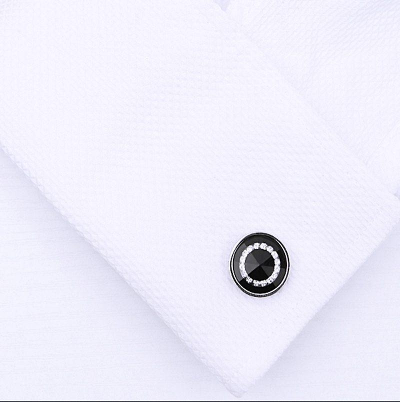 Silver And Black Round Cufflinks Set from Gentlemansguru.com