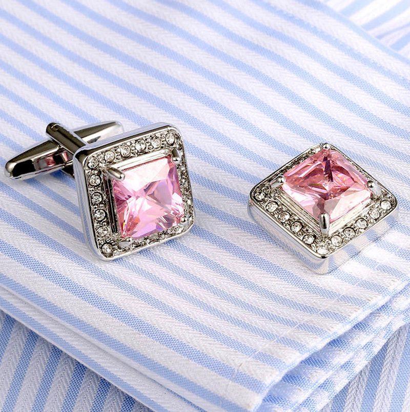 Silver and PInk Cufflinks Set With Swarovski Crystal from Gentlemansguru.com