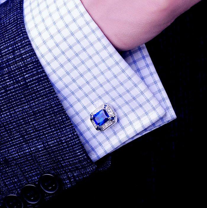 Silver and Sapphire Blue Cufflinks Set With Crystal from Gentlemansguru.com