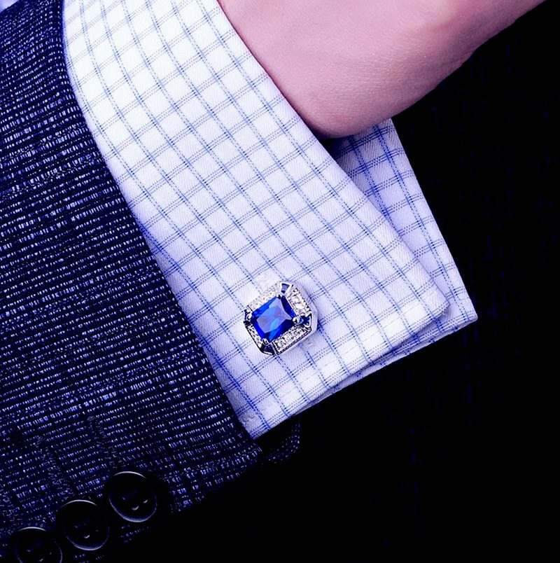 Silver and Sapphire Blue Cufflinks Set With Crystal from Gentlemansguru.com