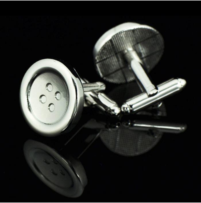 Sterling Silver Button Cufflinks Set from Gentlemansguru.com
