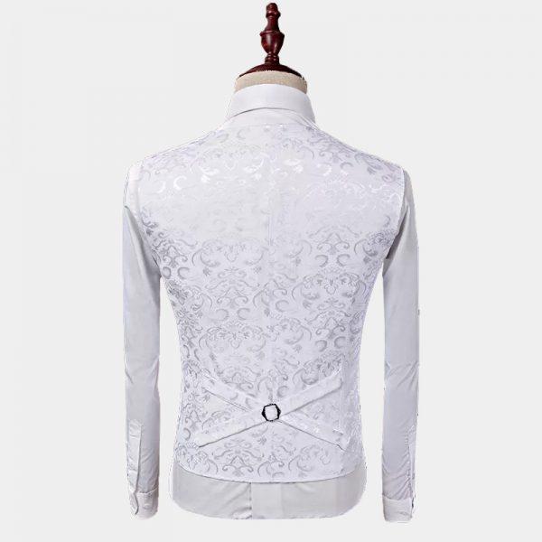 White Floral Jacquard Vest For Men from Gentlemansguru.com
