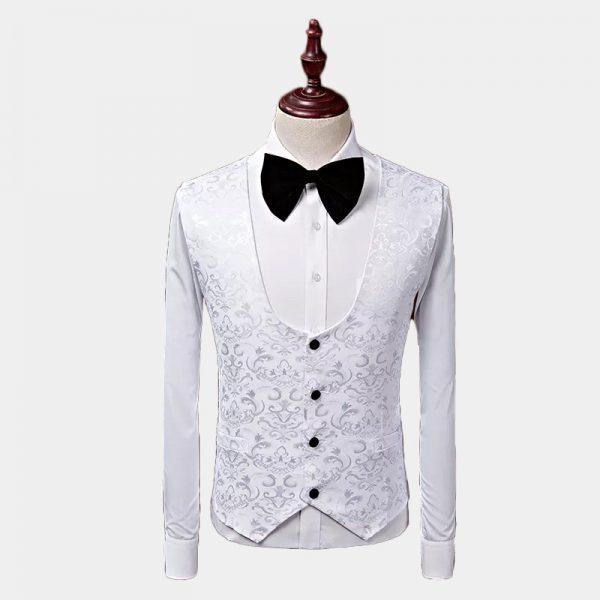White Wedding Tuxedo Vest For Men from Gentlemansguru.com
