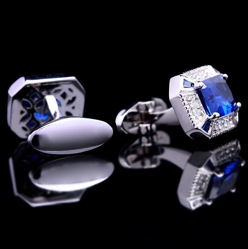 diamond and Sapphire Blue Cufflinks-cartier Sapphire Blue Cufflinks from Gentlemansguru.com