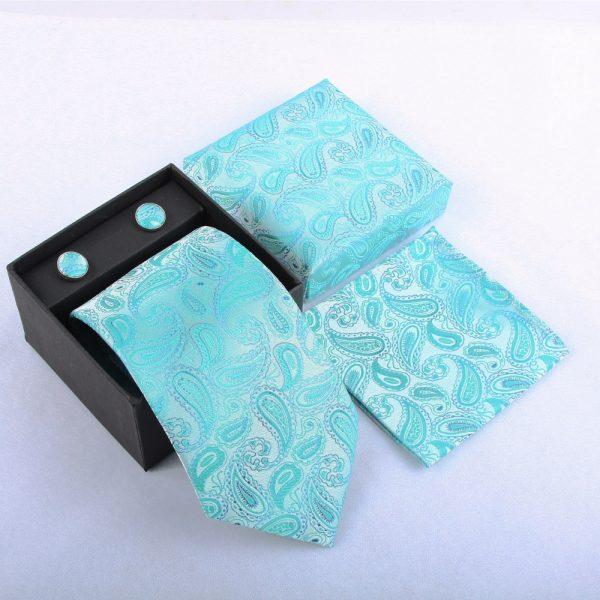 Turquoise Paisley Necktie Set