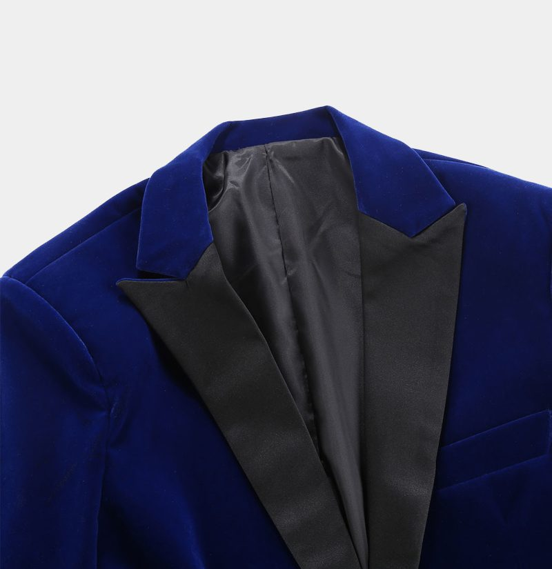 Black Peak Collar Blue Velvet Tuxedo Blazer from Gentlemansguru.com