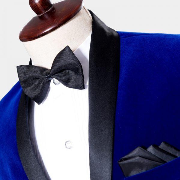 Groom-Groomsmen Royal Blue Velvet Tuxedo Blazer with Black Shawl Collar from Gentlemansguru.com