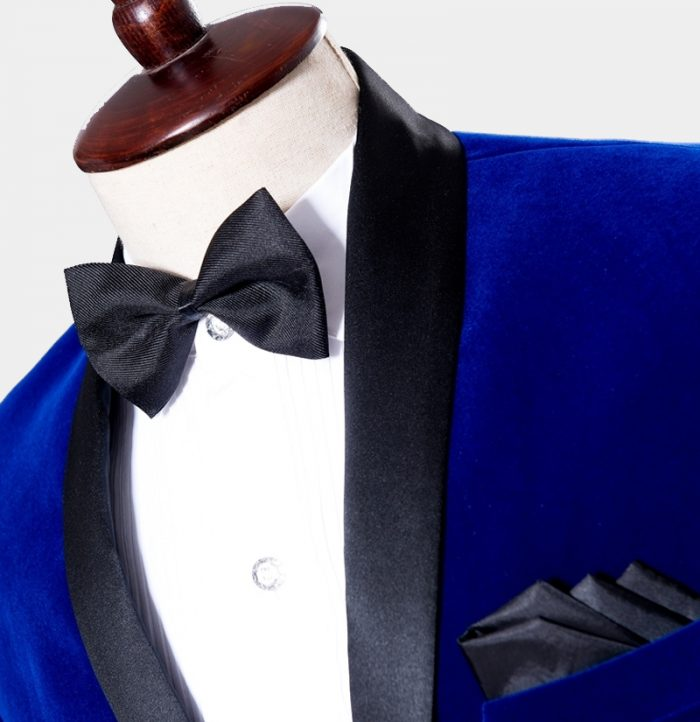 Groom-Groomsmen Royal Blue Velvet Tuxedo Blazer with Black Shawl Collar from Gentlemansguru.com