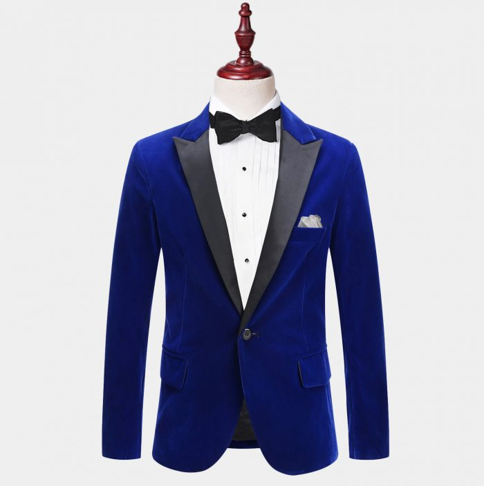 Mens Blue Velvet Tuxedo Jacket With Peak Collar