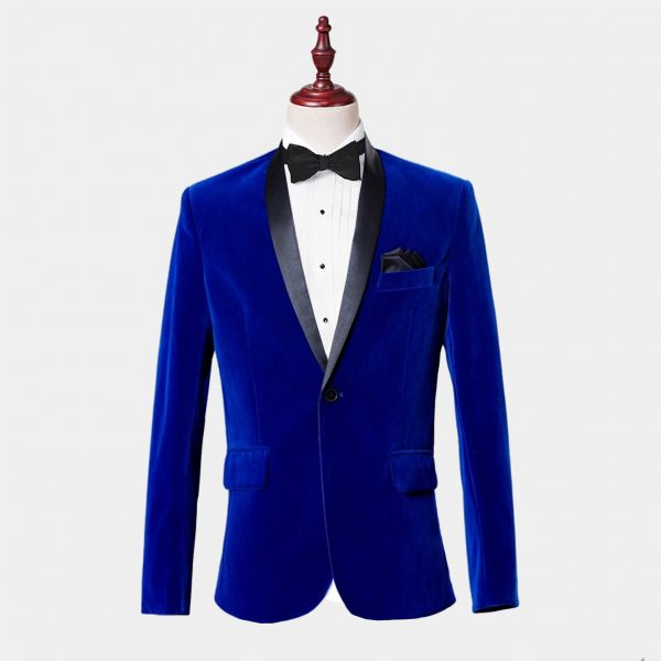 Mens Royal Blue Velvet Tuxedo Jacket With Shawl Collar
