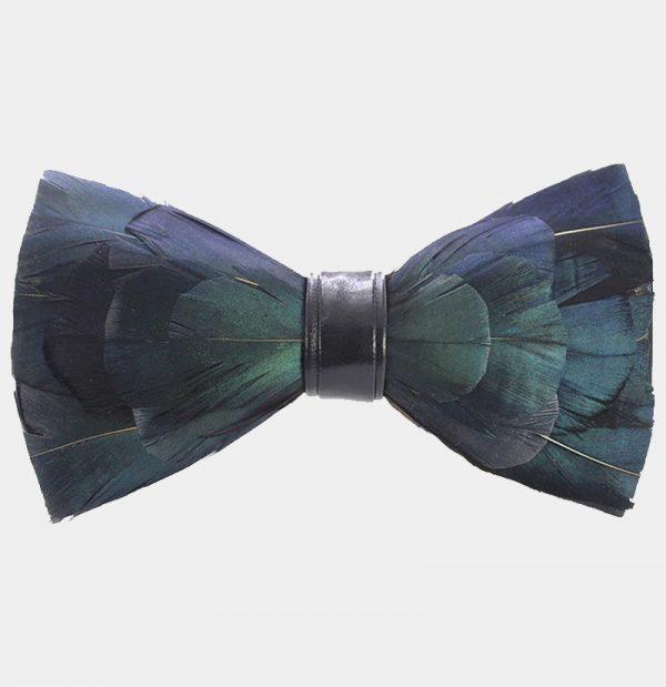 Dark Green Duck Feather Bow Tie from Gentlemansguru.com