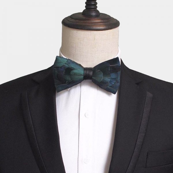 Duck Feather Bow Tie Dark Green from Gentlemansguru.com