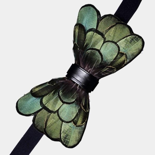 Green Duck Featyher Bow Tie Set from Gentlemansguru.com