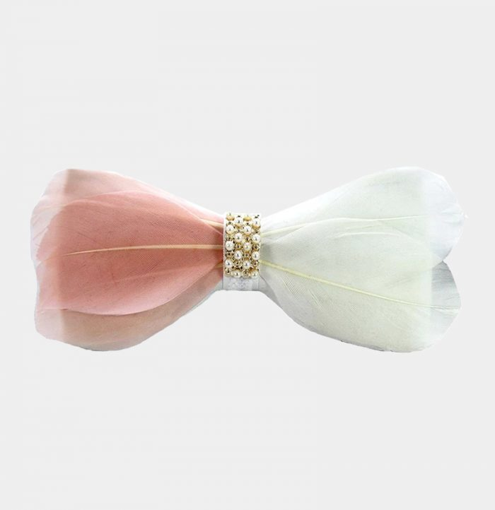 Luxury Feather Bow Tie with White and Blush Pink
