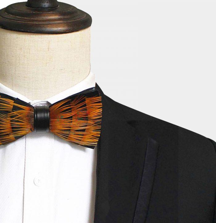 Mens Orange Feather Bow Ties For Sale from Gentlemansguru.com