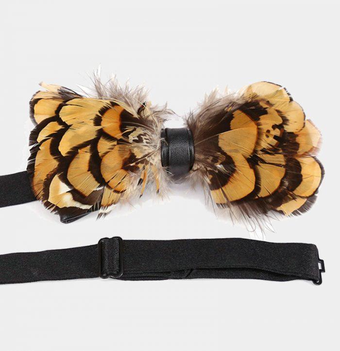 Mens Pheasant Feather Bow Tie brakisch from Gentlemansguru.com