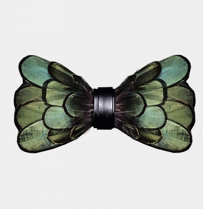 Olive Green Duck Feather Bow Tie For Sale from Gentlemansguru.com