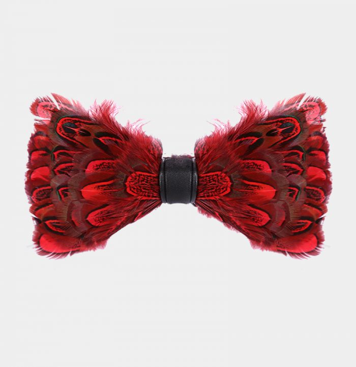 Red Pheasant Feather Bow Tie from Gentlemansguru.com