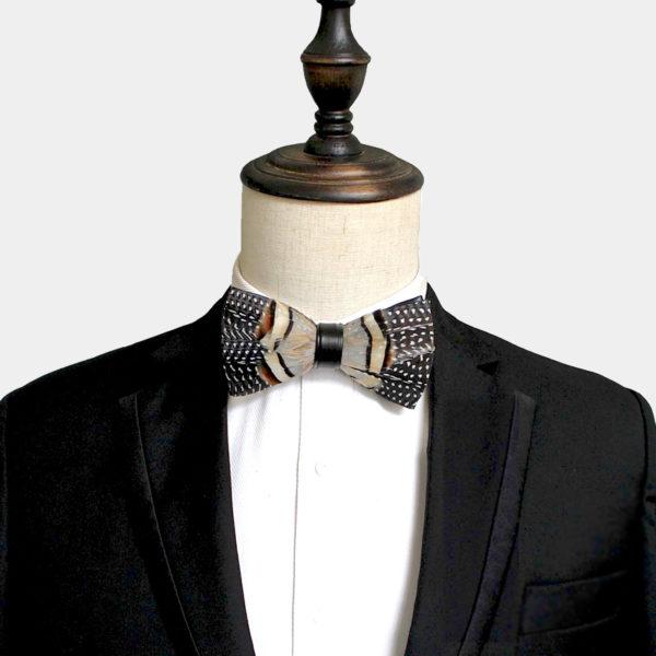 Tan Feather Bow Tie With Quail Bird Feather from Gentlemansguru.com