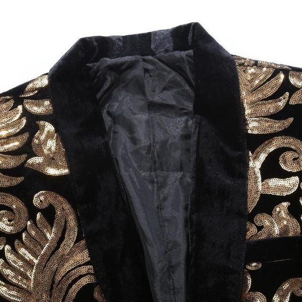 Black Velvet Tuxedo Jacket With Gold Sequin Flowers