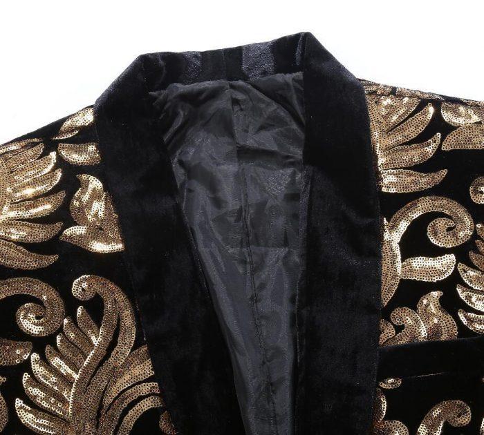 Black Velvet Tuxedo Jacket With Gold Sequin Flowers